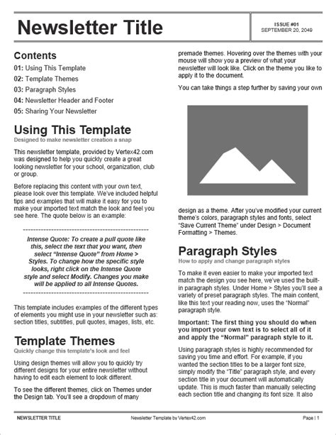 Free Newsletter Templates For Word Newsletter Template Word