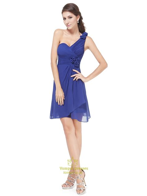 blue one royal blue one shoulder chiffon bridesmaid dresses with