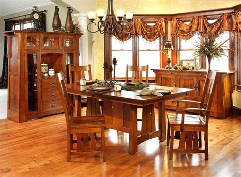 7 Pieces Oak Mission Style Dining Room Set With Rectangle Low Dining Table And Vintage 5 Pieces Mission Style Dining Room Sets