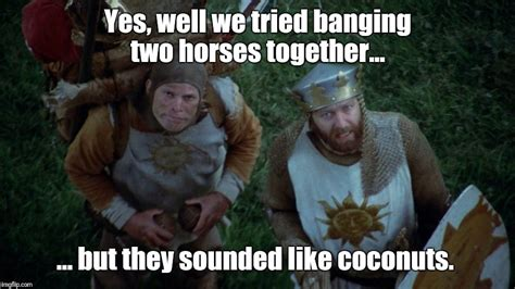 Monty Python Meme - and not even an african swallow could carry a horse imgflip
