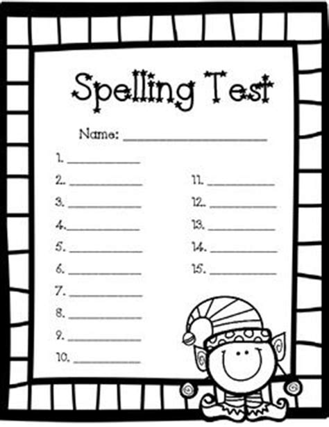 printable christmas spelling list 18 best images about spelling test forms on pinterest