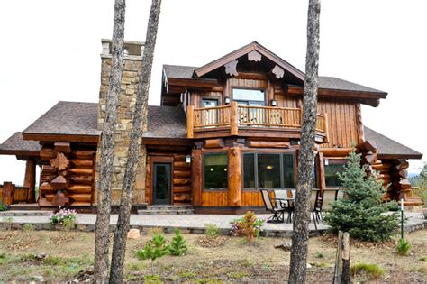 ranch style log homes mountain ranch style home plans western red cedar ranch style log home exterior denver