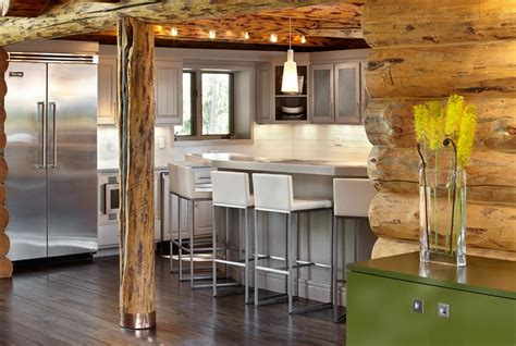 Stainless Kitchen Islands Rustic Log Retreat Blends Modern Accents And Spectacular Views