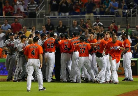 baseball benches clear see it benches clear after marlins fernandez stares at