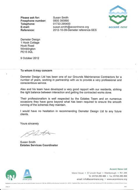 Reference Letter Sle Uk Demeter Design Grounds Maintenance Norfolk Grounds Maintenance Cambridgeshire And Norfolk