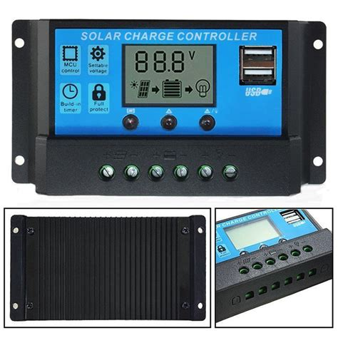Solar Charge Controller 30 A With Usb lcd solar panel battery regulator charge controller dual