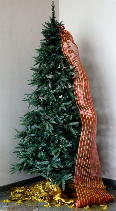 adding deco mesh last minute to xmas tree ideas by mardi gras outlet tree decorating with tinsel ties and deco mesh