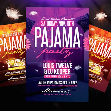 Pajama Party Flyer Instagram Promo On Behance Pajama Flyer Template