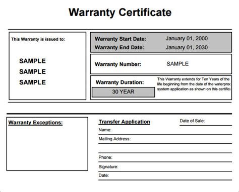 Guarantee Card Template by 7 Sle Warranty Certificate Templates To