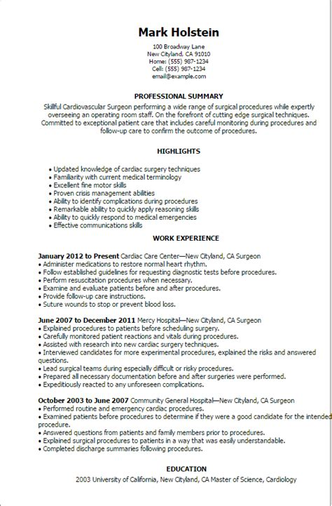 Resume For A Plastic Surgeon by Professional Surgeon Templates To Showcase Your Talent
