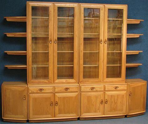 Ercol Display Cabinet by Ercol Elm Large Wall Shelf Unit Glazed Display