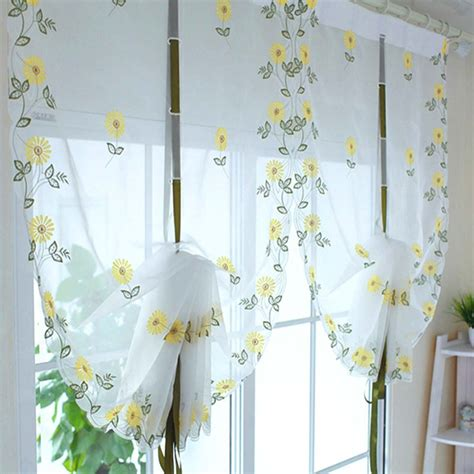 Sunflower Kitchen Curtains New Embroidered Sunflowers Shade Sheer Voile Cafe Kitchen Living Room Curtains 34inch 69inch