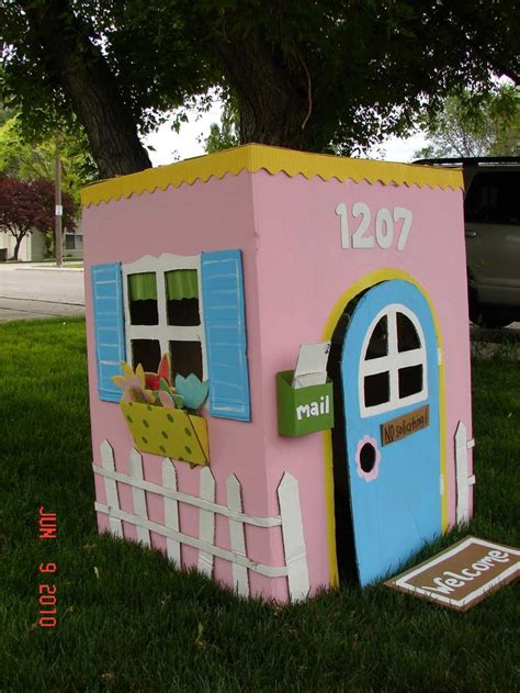 cardboard house cardboard playhouse cardboard houses cardboard play houses and mailbox flowers