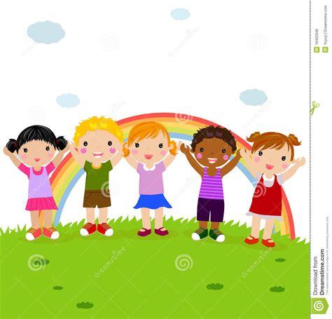 imagenes de niños felices animados grupo de ni 241 os felices en el parque con el arco iris
