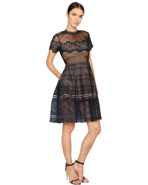 Felicia Dress Navy Bn559x self portrait felicia sleeved lace dress in blue navy lyst