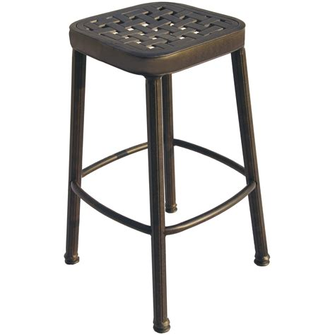 Patio Bar Stools by Darlee Cast Aluminum Outdoor Patio Square Bar Stool