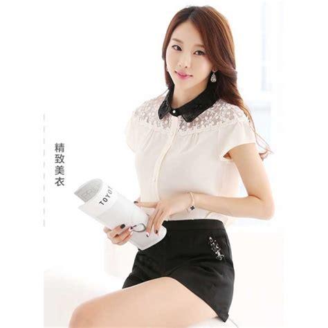 Blouse Shifon Tangan Pendek Kerah Kemeja Korean Style kemeja wanita korea t2669 moro fashion