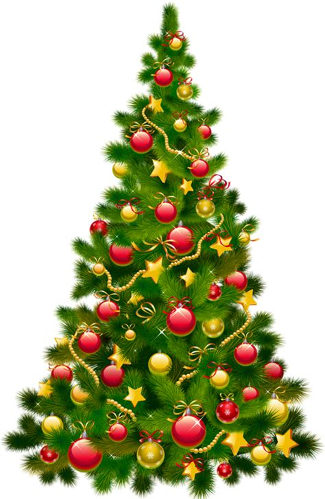 large transparent christmas tree with ornaments clipart