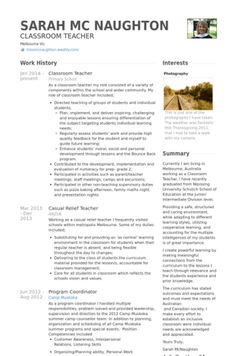 Resume Exles For Outdoor Classroom Resume Sles Visualcv Resume Sles Database