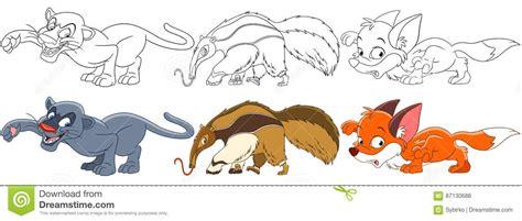 libro cats prey cartoon predator animals set stock vector image 87130686