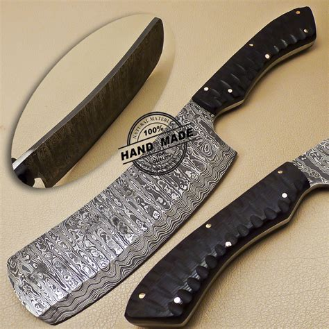 Handmade Butcher Knives - damascus cleaver butchers knife custom handmade damascus steel