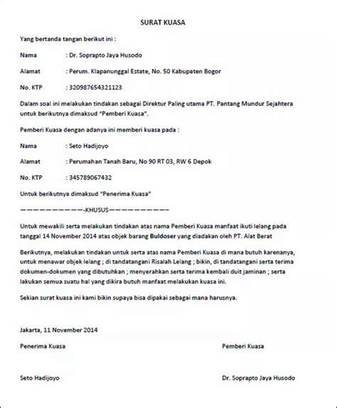 kumpulan contoh surat kuasa yang benar