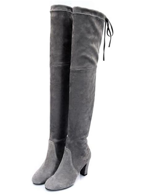 gray stretch suede laced back heeled the knee boots