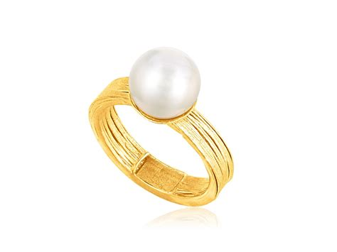cultured pearl filament ring in 14k yellow gold richard