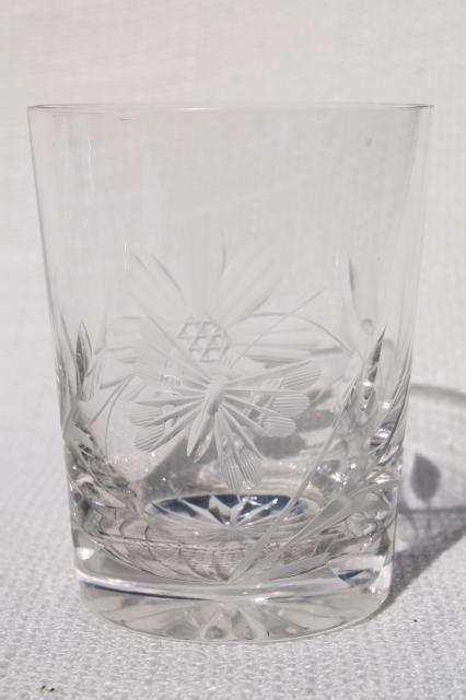 cut crystal tumblers  butterfly  flower design drinking glasses  butterflies