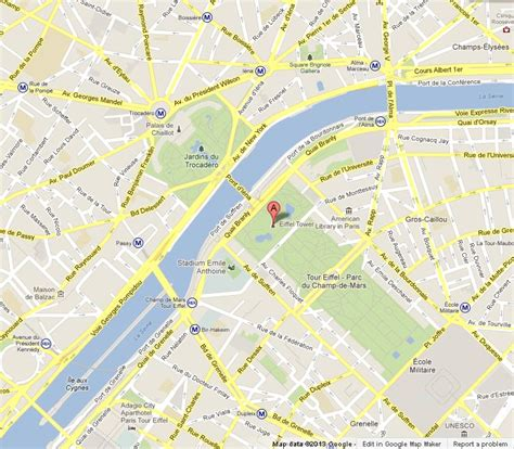 eiffel tower address eiffel tower on map of paris world easy guides