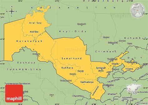 uzbekistan on a world map savanna style simple map of uzbekistan