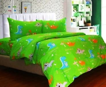 Badcover Bahan Panca detail product sprei dan bedcover dinoland hijau toko