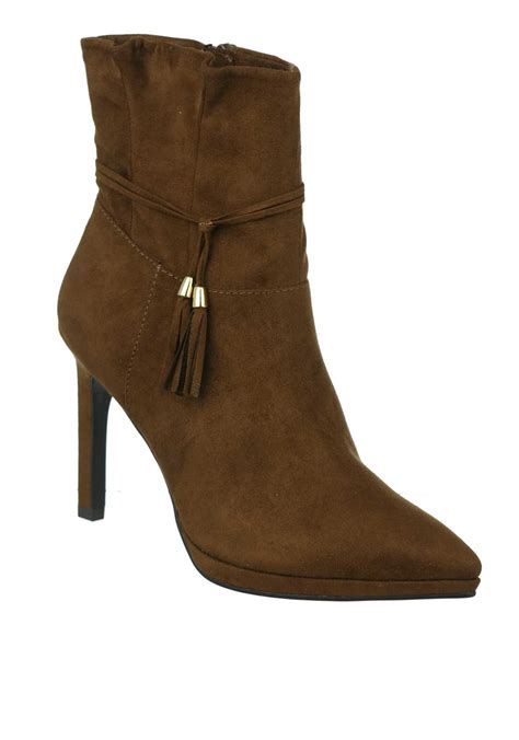 Faux Suede High Heel Ankle Boots tamaris pointed toe faux suede high heel ankle boot brown