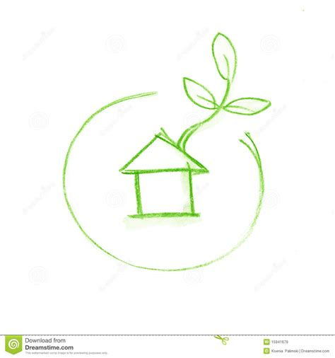 eco green house design eco green house in circle web icon sketch royalty free stock images image 15941679