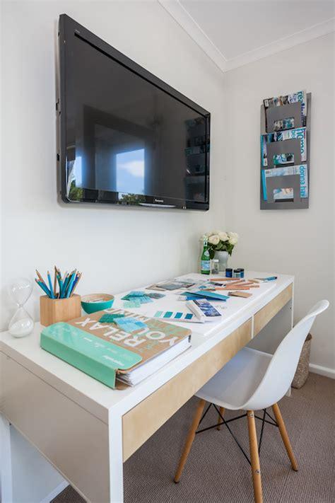 office desk with tv mount tv over desk cottage den library office coastal style