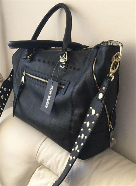steve madden black bsocial convertible satchel tote shoulder handbag new ebay