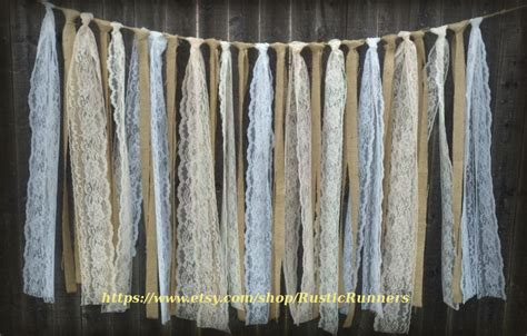 hanging lace curtains rustic charm barn wedding burlap and lace garlands swag rag