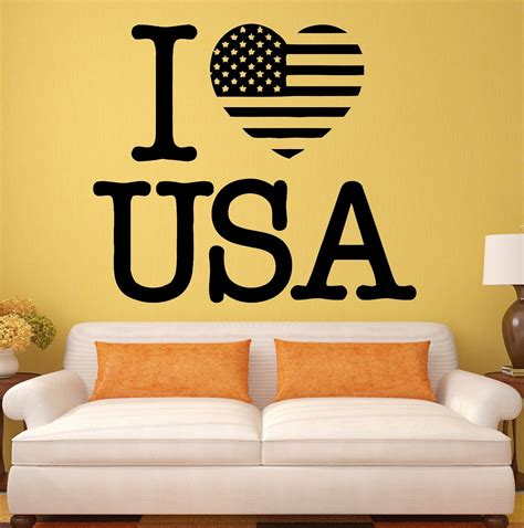 home decor in usa new usa wall stickers decal i love united states patriot