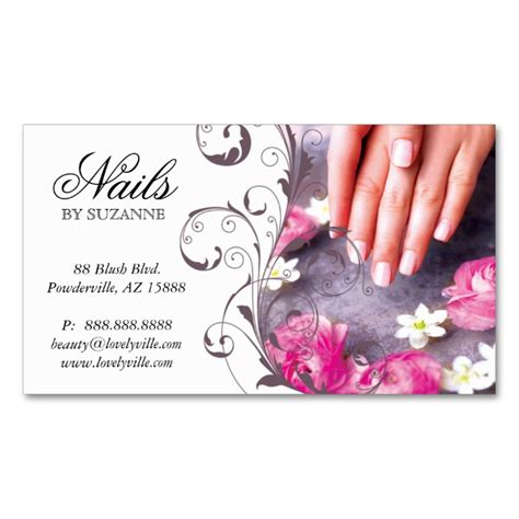 122 Nail Salon Business Card Pink Taupe Nail Technician Business Cards Salon Business Cards Nail Business Cards Templates