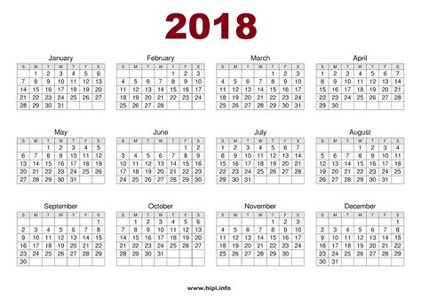 Printable Calendar 2018 One Page | twitter headers facebook covers wallpapers calendars