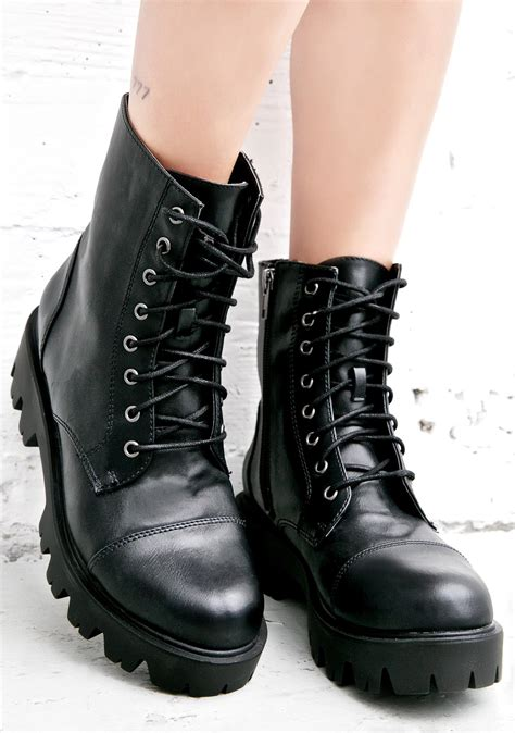 Faux Leather Lace Up Biker Boots Dolls Kill
