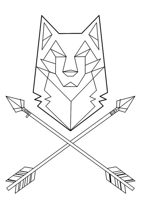 geometric wolf coloring pages wolf tattoo geometric buscar con google tatoos