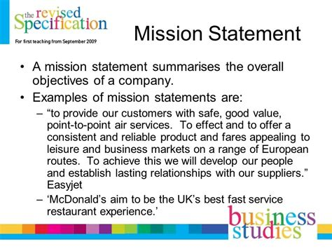 mission statement objectives mission statements business aims ppt