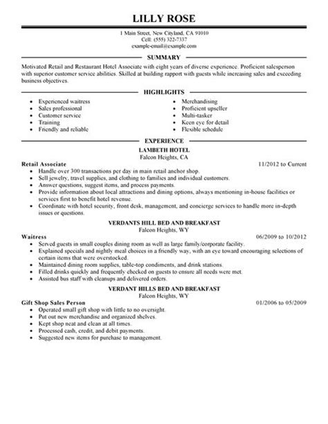 Restaurant Hospitality Resume Sles Best Retail And Restaurant Associate Resume Exle Livecareer
