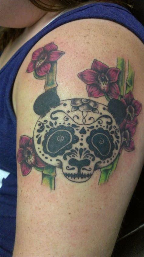 panda tattoo skull my sugar skull panda tattoo with bamboo and cherry