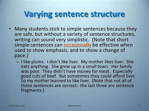 varying sentences worksheet varied sentence structure exles images