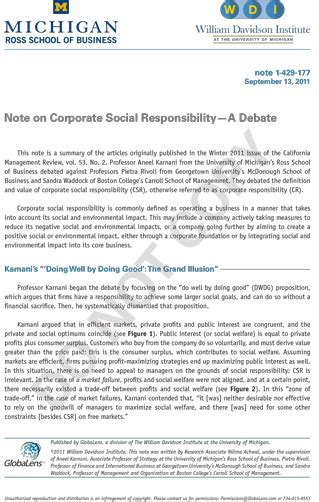 Csr Notes For Mba by Note On Corporate Social Responsibility A Debate