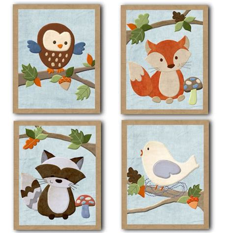 Forest Friends Animals Nursery Bedding Artwork Art Decor Forest Friends Nursery Decor