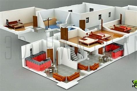 interior plan houses 3d section plan 3d interior design