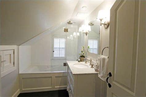bathtub   eaves   narrow  bathroom